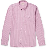 Wooster Lardini Striped Cotton Oxford Shirt Pink