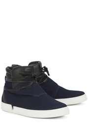 Casbia Jay Navy Mesh Hi Top Trainers
