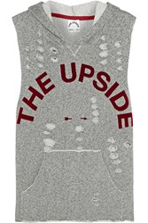 The Upside Recovery Distressed Cotton Blend Terry Hooded Top Gray