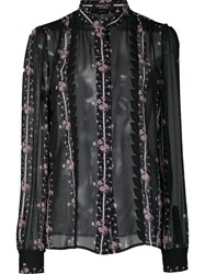 Giambattista Valli Floral Print Sheer Shirt Black