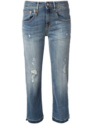 R 13 R13 Distressed Jeans Blue