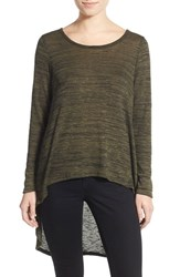 Junior Women's Living Doll Space Dye High Low Sweater