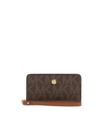Michael Kors Jet Set Zip Around Logo Travel Wallet Brown Luggage
