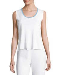 Ming Wang Contrast Trim Scoop Neck Knit Tank Whi