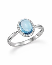 Bloomingdale's Blue Topaz Cabochon And Diamond Ring In 14K White Gold Blue White