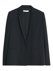 Mango Essential Cotton Blend Blazer Black