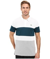 Lacoste Golf Short Sleeve Color Block Pique Ultra Dry White Silver Chine Papyrus Men's Clothing Multi