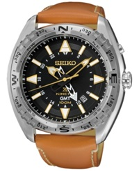 Seiko Men's Prospex Kinetic Gmt Brown Leather Strap Watch 46Mm Sun055 No Color
