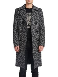 Saint Laurent Slim Fit Leopard Print Coat Black Grey