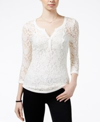 Almost Famous Juniors' Sheer Lace Henley Top Natural