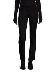 The Row Beca Suede Cropped Flared Pants Black