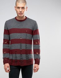 Asos Halloween Stripe Jumper With Laddering Red