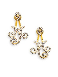 Azaara Pave Scroll Jacket And Stud Earrings Gold