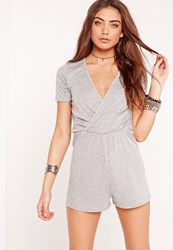 Missguided Jersey Short Sleeve Wrap Playsuit Grey Grey