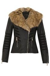 Izabel London Fur Collar Fitted Faux Leather Jacket Black