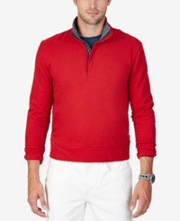 Nautica Men's Big And Tall Quarter Zip Sweatshirt Ribbon Red