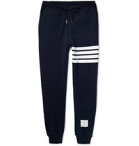 Thom Browne Striped Loopback Cotton Jersey Sweatpants Navy