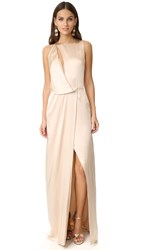 Halston Draped Cutout Gown Champagne