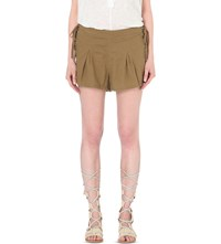 Free People Silver Springs Linen Blend Shorts Green