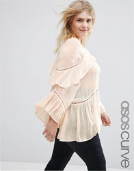 Asos Curve Ruffle Tiered Blouse Pink