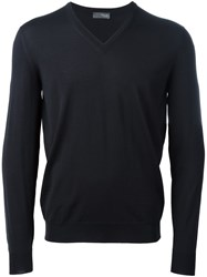 Drumohr V Neck Fine Knit Jumper Black