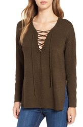 Astr Women's Lace Up Sweater Olive