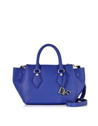Diane Von Furstenberg Voyage Lapis Shock Leather Double Zip Satchel Blue