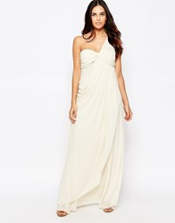 Jarlo One Shoulder Maxi Dress With Knot Front Cream