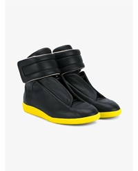 Maison Martin Margiela Future High Top Leather Sneakers Black Yellow Truffle Grey White