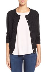 Women's Vince Camuto Lace Stripe Front Cardigan Rich Black