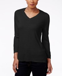Karen Scott Petite V Neck Sweater Only At Macy's Luxsoft Black