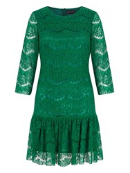 Mela Loves London Lace Peplum Shift Dress Green