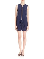 Tory Burch Marguerite Silk Romper Royal Navy