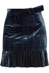 3.1 Phillip Lim Velvet And Metallic Chiffon Mini Skirt Navy