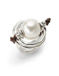 Uno De 50 Pearl Statement Ring Silver