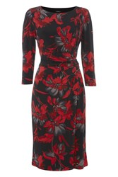Roman Originals Floral Printed Jersey Dress Red