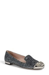 Miu Miu Studded Cap Toe Loafer Women Glitter Fabric