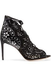 Nicholas Kirkwood Laser Cut Nubuck And Patent Leather Sandals Black