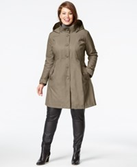 Dkny Plus Size A Line Trench Coat Sand