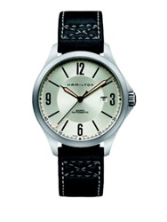Hamilton Khaki Aviation Auto Stainless Steel And Leather Strap Watch Black Silver