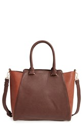 Sole Society 'Jeanine' Satchel Brown Cognac Combo