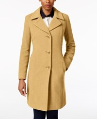 Anne Klein Petite Wool Cashmere Blend Button Front Walker Coat Only At Macy's Camel