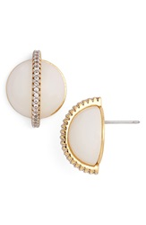 Rachel Zoe 'Stell' Pave Dome Stud Earrings Gold Crystal