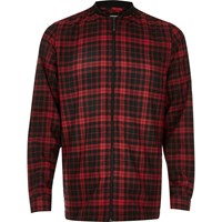 River Island Mens Red Check Flannel Baseball Shirt