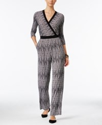 Ny Collection Printed Surplice Jumpsuit Noir