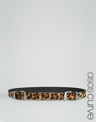 Asos Curve Double Buckle Leopard Belt Natural Brown