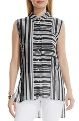 Vince Camuto Women's Two By Sheer Stripe Sleeveless Blouse