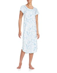 Miss Elaine Floral Ruffled Nightgown Blue