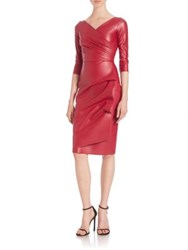 La Petite Robe Di Chiara Boni Ruched Faux Leather Sheath Dress Garnet