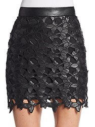 Sam Edelman Emma Faux Leather Lace Mini Skirt Black